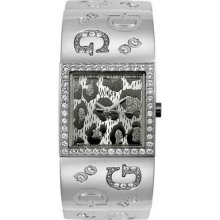 Guess Women Silver Leopard Crystal Watch U95022l1 ,comes With Original Guess Box