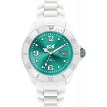 Ice-Watch Unisex Ice-White SI.WT.S.S.10 White Plastic Analog Quartz Watch with Green Dial