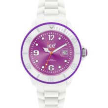 Ice-Watch Unisex Ice-White SI.WV.B.S.11 White Silicone Quartz Watch with Purple Dial