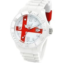Ice World Gents England Rotating Bezel White Silicone Strap Watch Wo.gb.b.s.10