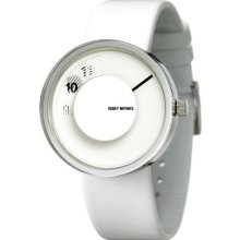 Issey Miyake Unisex Vue Watch Im-Silav003 With White Leather Strap