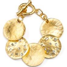 Kenneth Jay Lane Satin Gold Crystal Coin Bracelet
