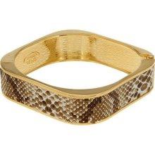 Kenneth Jay Lane's Simulated Snake Skin Bangle Bracelet - Beige - Large