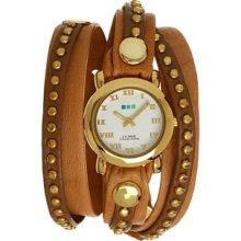 La Mer Collection Women Camel Gold Bali Stud Wrap Watch Leather Strap Case