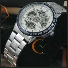Mens Auto Mechanical Watch Skeleton Dial High-quality Steel
