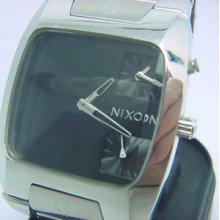 Men's Nixon The Banks Black Silver 100m Stainless Steel Watch