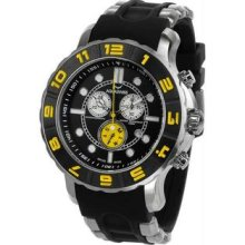 Men's Rugged Quartz Chronograph Black Dial Bezel Rubber Strap Yellow