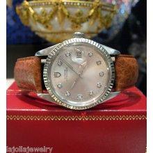 Mens Vintage Rolex Tudor Jumbo Rare Watch On Leather Strap With Diamonds