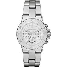 Michael Kors Women's Mk5498 Bel Aire Chronograph Silver Tone Watch - W/ Tags