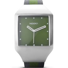 Nooka Unisex Zeel Olive Analog Stainless Watch - Two-tone Nylon Strap - Green Dial - ZEEL ZAN OL 20