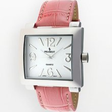Peugeot Women's Silver-Tone Pink Leather Strap Watch #706PK ...