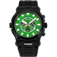 Renato Mens Black Ip Calibre Robusta Green Dial Super Easy To Read Dial