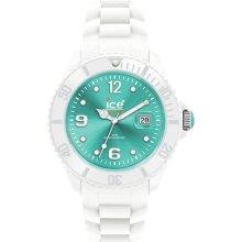Rrp £110 Genuine Ice Watch Sili Unisex White Band Turquoise Dial Si.wt.u.s.10 Uk