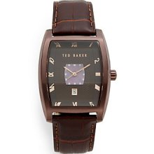 Ted Baker Stainless Steel Ribbed Dial Watch - Brown