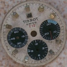 Tissot Chronograph Tri Compax Wristwatch Dial 27 Mm. In Diameter