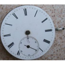Vintage Pocket Watch Movement & Dial 39 Mm. To Restore Or Parts