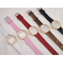 Wholesale Lot of 5 Color Band Crystal Fashion Jewelry Wrist Watches for Women