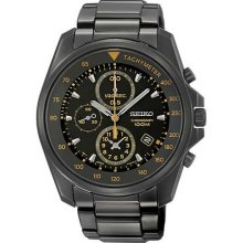 100 Percent Authentic Seiko Chronograph Gents Black Watch Sndd65p1
