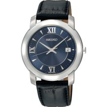 $215 New SEIKO Mens Analog Round Blue Stainless Steel Watch Black Leather Band - Black - Leather