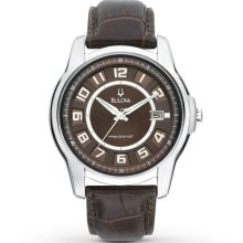 $299 New BULOVA Precisionist Mens Round Steel Watch Brown Leather Band - Brown - Surgical Steel