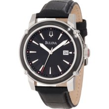 $375 New BULOVA Mens Quartz Analog Round Steel Watch Black Leather Band - Black - Surgical Steel