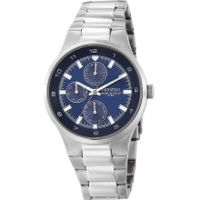 Armitron 204333Blsv Men'S 204333Blsv Silver-Tone Stainless Steel Blue Multi-Function Dial Dress Watch