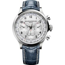 Baume and Mercier Capeland Silver Dial Chronograph Blue Leather Mens Watch MOA10063