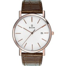 Bulova 98h51 Mens Calendar Strap Brown Leather White Dial Quartz Watch