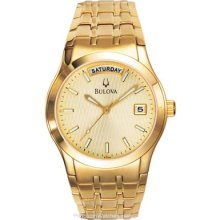 Bulova Mens Full-Day & Date Watch Gold-Tone Champagne Dial 97C48