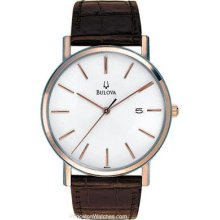 Bulova Mens Rose Gold & Brown Leather Mens Watch - White Dial - Date 98H51
