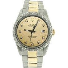 Champagne diamond dial bezel SS & gold oyster bracelet men rolex watch datejust