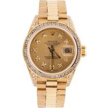 Champagne diamond dial rolex presidential lady watch diamond bezel lug president - Brown - Gold