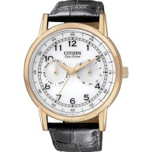 Citizen AO9003-16A Watch Eco Drive WR100 Mens - White Dial Stainless Steel Case Quartz Movement