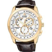 Citizen AT1183-07A Watch Chronograph WR100 Mens - White Dial Rose Gold Tone Steel Case Solar Quartz Movement