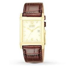 Citizen Bw0072-07p Eco-drive Mens Leather Band Watch Gold Tone Dress-100%