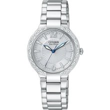 Citizen Ladies Stainless Steel Firenza Eco-Drive Diamond Bezel Silver Dial Sapphire EP5970-57A