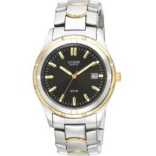 Citizen Mens Big Two-tone Silver & Gold Watch - Black Dial - W/ Date Bk2284-54h