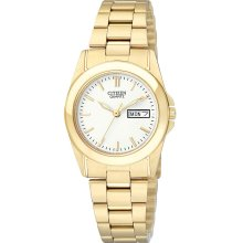 Citizen Quartz Womens Analog Stainless Watch - Gold Bracelet - White Dial - EQ0562-54A