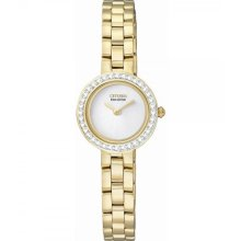Citizen Silhouette Eco-Drive White Dial Gold-Tone Stainless Steel Ladies Watch EX1082-51A