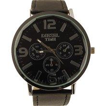 Classic Style PU Leather Big Band Dial Women Men Wrist Watch - Black
