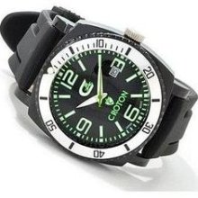 Croton Men's Collection Quartz Rubber Strap Green Watch CX328007BSGR