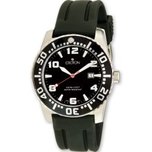 Croton Mens Stainless Steel Black Dial Silicone Band Quartz Watch XWA3176