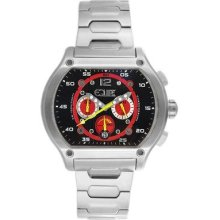 Equipe Dash Men's Watch with Silver Band and Black / Red Dial