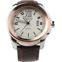 Fashion White Dial Red PU Leather Band Men's Steel Wrist Watch