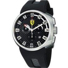 Ferrari Men's Podium Swiss Made Quartz Chronograph Black Rubber Strap Watch BLACK