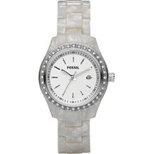 Fossil Glitz White Plastic Bracelet White Dial Ladies Watch ES2670
