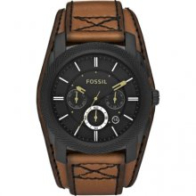 Fossil Machine Black Dial Chronograph Brown Leather Mens Watch FS4616