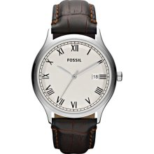 Fossil Mens Ansel Analog Stainless Watch - Brown Leather Strap - White Dial - FS4737