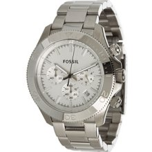 Fossil Mens Retro Traveler Chronograph Stainless Watch - Silver Bracelet - Blue Dial - CH2849