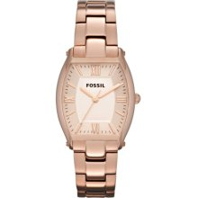 Fossil Women's Wallace ES3120 Brown Stainless-Steel Quartz Watch with Rose-Gold Dial
